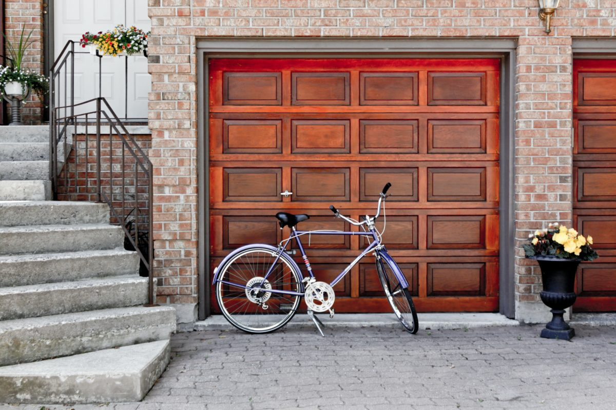 wooden garage door of a house